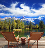 Lounge chairs  for rest — Stock Photo