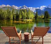 Городской парк на альпийском курорте Шамони. — Стоковое фото