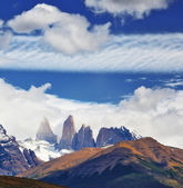 Three rocks Torres surrounded by clouds. — Stock Photo