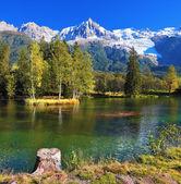 City park in the Alpine resort of Chamonix. — Stock Photo