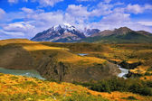 The grand landscape in the  park Torres del Paine — Stock Photo