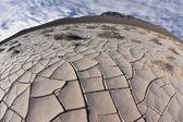 Cracked clay crust is  desert  — Stock Photo