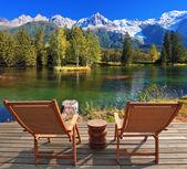 Chairs in City park in the Alpine resort of Chamonix — Stock Photo