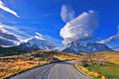 Fabulous clouds over  park Torres del Paine — Stock Photo