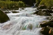 Stormy and frothy mountain stream — Stock Photo