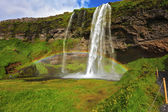 Seljalandsfoss waterfall in sunny day — Stock Photo