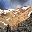 The beige rhyolite mountains with snow — Foto de Stock   #63972043