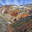The orange rhyolite mountains with  snow — Stok fotoğraf #64598213