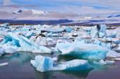 Icebergs and ice floes floating — Stock Photo