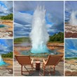 Collage -  card of the geyser Strokkur — Stock Photo #65914031