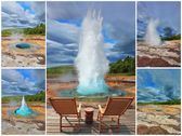 Collage -  card of the geyser Strokkur — Stock Photo