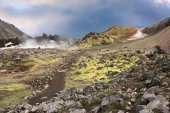 Rhyolite mountains smoldering  heat — Stock Photo