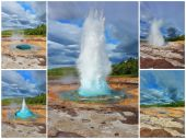 Collage showing geyser — Stock Photo