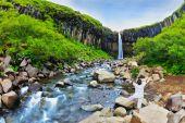 Woman near Waterfall Svartifoss in Skaftafell — Stock Photo