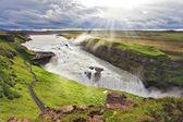 Waterfall Gullfoss glistens — Stock Photo