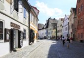 Architecture in historical center of Cesky Krumlov. — Stock Photo