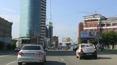Travel by car on the roads of Novosibirsk. Russia. — Stock Video