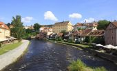 Beautiful summer landscape of the historical center of Cesky Kru — Stock Photo