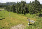 Ski lift in the Altai Mountains. — Stock Photo