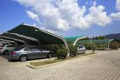 Parking with tents at Porto Carras Meliton. Sithonia. — Stock Photo