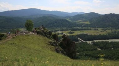Panorama of Mount Bloody Finger in Altai Krai. Russia. — Stock Video