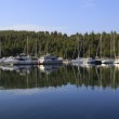 Mirror view of yachts and boats. — Stock Photo #56146031