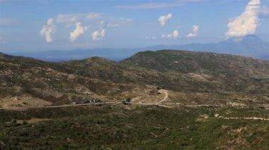 Panorama Aegean coast. View of Mount Athos. Sithonia peninsula. Northern Greece. — Stock Video