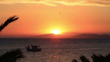 Pôr do sol sobre o mar Egeu. Península de Sithonia. Norte da Grécia. — Vídeo stock