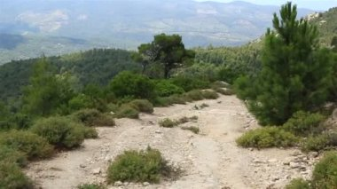 Beautiful dirt road in the mountains. Sithonia peninsula. Northern Greece. — Stock Video