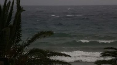 Storm on the Aegean Sea. Sithonia peninsula. Northern Greece. — Stock Video