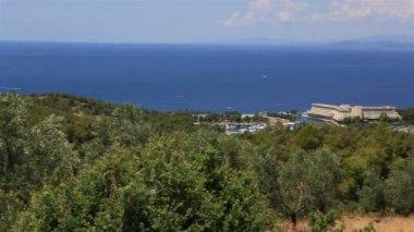 Porto Carras Meliton on the coast. Sithonia peninsula. Northern Greece. — Stock Video