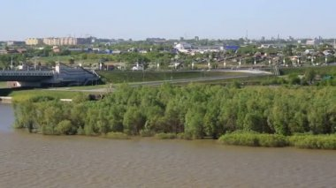 Panorama city of Omsk on the Irtysh River. Russia. — Stock Video