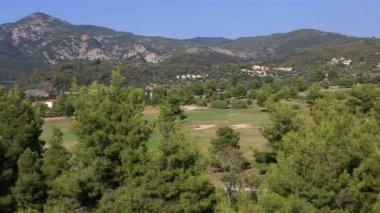 Panorama of territory Porto Carras Grand Resort. — Stock Video