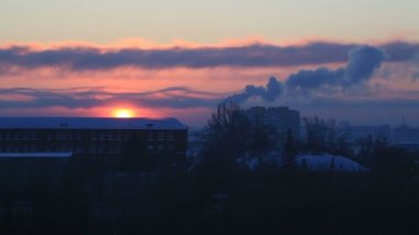 Beautiful sunrise over the city Omsk. Time Lapse — Stock Video