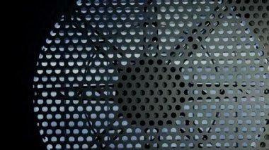 Industrial fan turbine behind a metal grate — Stock Video