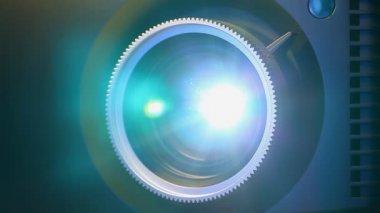 Digital film projector lens — Stock Video