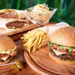 Tasty hamburger and french fries  — Stock Photo #65690811