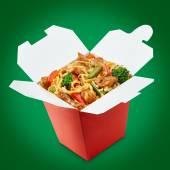 Perfect wok noodles box with chopsticks — Stock Photo