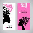 Banners of beautiful women silhouettes — Stock Vector #51955727