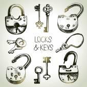 Hand drawn locks and keys — Stock Vector