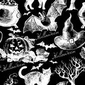 Sketch Halloween seamless pattern — Stock Vector