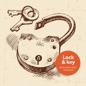 Vintage lock and key banner — Stock Vector