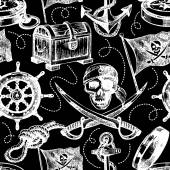 Hand drawn pirate seamless pattern — Stock Vector