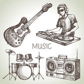 Sketch music set — Stock Vector