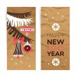 Vintage Christmas banner set. Happy New Year cards. — Stock Vector #56711525