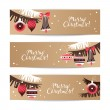 Vintage Christmas banners. Happy New Year cards. — Stock Vector #56711731