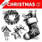 Hand drawn sketch winter Christmas set. — Stock Vector