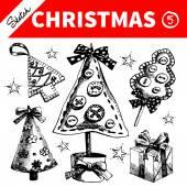 Hand drawn sketch winter Christmas set. — Wektor stockowy