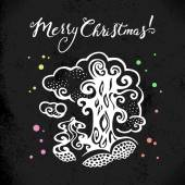 Christmas background with hand drawn sketch illustration.  — Stok Vektör
