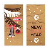 Vintage Christmas banner set. Happy New Year cards.  — Stockvektor